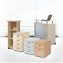 Rollcontainer mit 3 Schubladen + 1 ausziehbares Materialfach