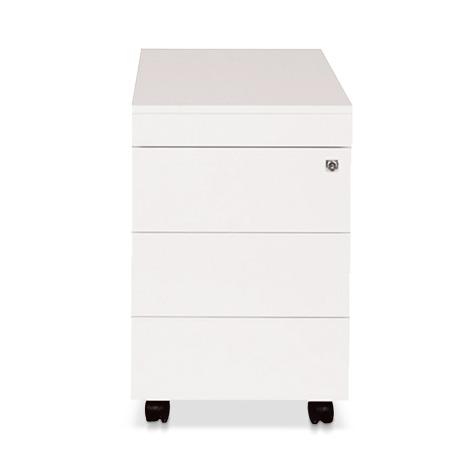 Rollcontainer Simplify. Weiß RAL 9016. Mit 3 Schubladen und 1 Materialfach