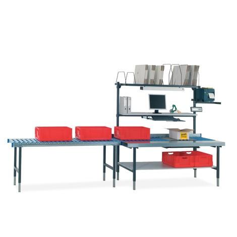 Rollenbahntisch mit Arbeitsfläche und Waage für Hüdig + Rocholz Packtisch-System