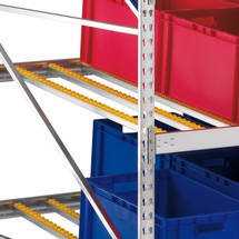 Roller tracks for META drive-through rack with roller conveyors