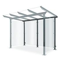 Rückwand für Überdachung aus Glas und Stahl