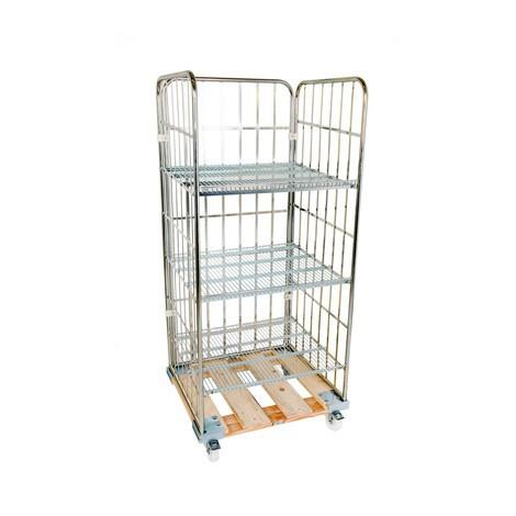 Rullcontainer, 3-sidig, 3 hyllor, trä-rullplatta