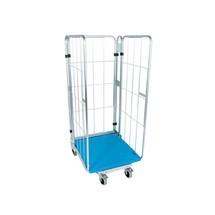 Rullcontainer, 3-sidig, med plast-fot, nestabilt