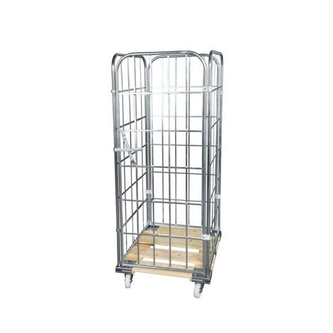 Rullcontainer, 4-sidig, framvägg i ett stycke, trä-rullplatta