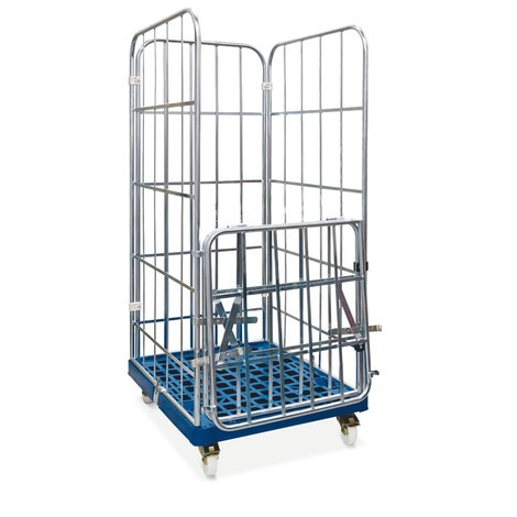 Rullcontainer, 4-sidig, halv vikbar framvägg, plast-rullplatta, HxBxD 1.850 x 724 x 815 mm