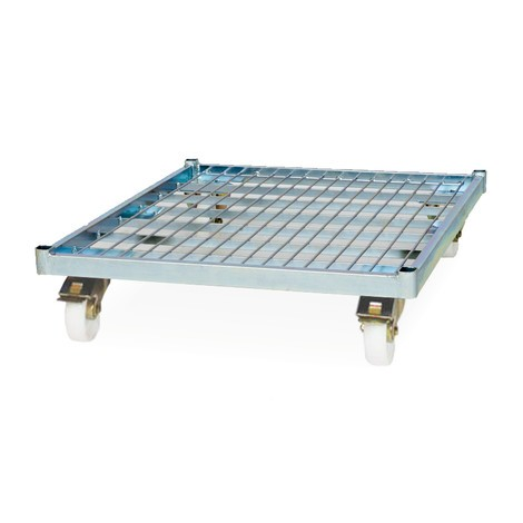 Rullcontainer, 4-sidig, halvt vikbar framvägg, stål-rullplatta