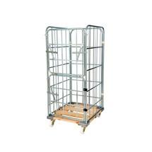 Rullcontainer, 4-sidig, halvt vikbar framvägg, trä-rullplatta