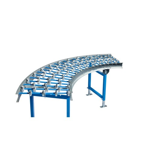 Rulliera leggera, rullini in acciaio, curva da 45°