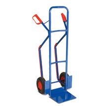 Sackkarre mit Gleitkufen. Tragkraft 250kg, Schaufel 32x25cm, blau.