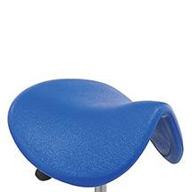 Sattelhocker mit PU-Sitz. Gasfeder-Höhenverstellung. Mit Rollen oder Gleitern.