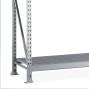 Scaffalatura a campata larga META, con pianetti in acciaio, portata per piano 600 kg, campata aggiuntiva
