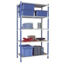 Scaffalatura a ripiani, campata base, colore azzurro/grigio chiaro, portata massima per ripiano 233 kg