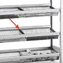 scaffalatura a ripiani divisorio SCHULTE con cestelli a maglia stretta