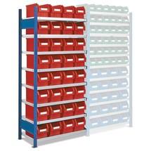 scaffalatura a ripiani RasterPlan, scaffale aggiuntivo carico 100 kg, con scatole stoccaggio con frontale aperto