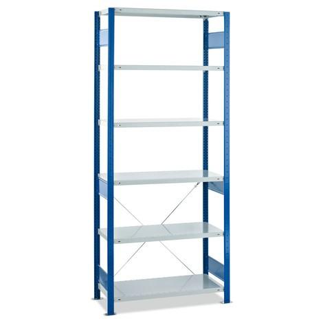 scaffalatura a ripiani SCHULTE, campata base, portata massima per ripiano 150 kg, blu genziana/grigio chiaro