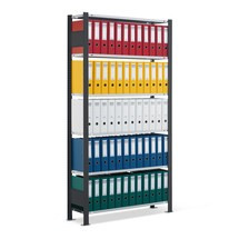 scaffalatura per documenti SCHULTE, monofacciale, senza terminali, portata massima per ripiano 85 kg, nero