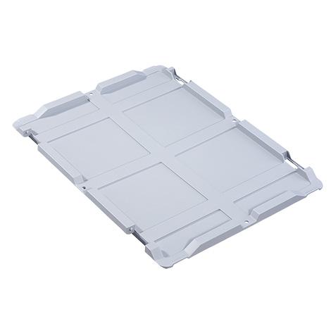 Scharnierdeckel für Euro-Stapelbehälter. PP grau. Ohne Verschlüsse