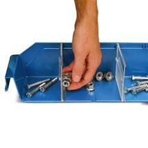 Scheidingsplaat voor magazijnbakken met inkijkopening