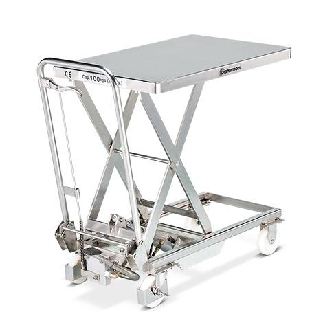 Scheren-Hubtischwagen Bishamon®, aus Edelstahl. Tragkraft bis 400kg