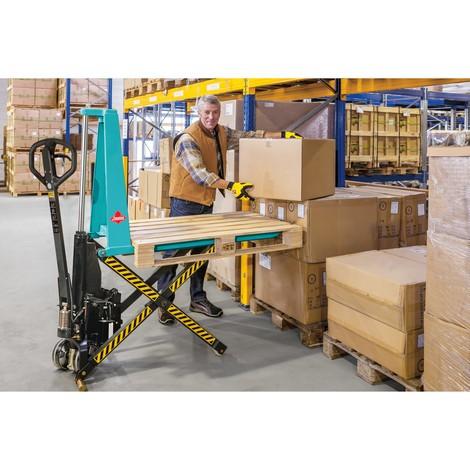 Scheren-Hubwagen Ameise® - elektrohydraulisch, RAL 5018 türkisblau, B-Ware