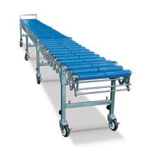 Scheren-Rollenbahn. Mittig geteilte Kunststoffrollen, bis 620 mm breit