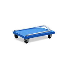 Schiebebügelwagen aus Kunststoff mit Klappbügel, Ladefläche BxT mm 840x600, TK 300 kg, blau