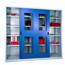 Schiebetürenschrank mit Sichtfenstern, 1000 x 1000 x 400 mm (HxBxT)