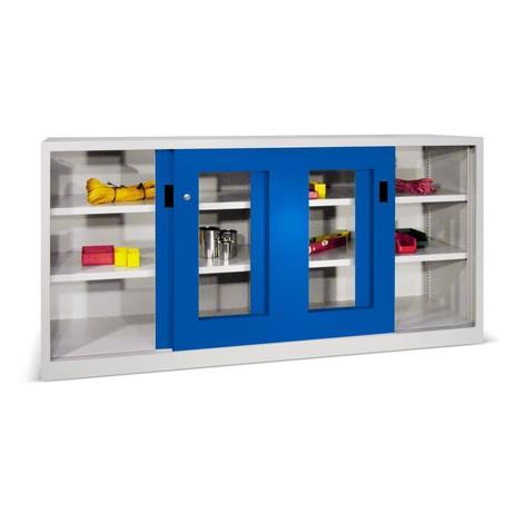 Schiebetürenschrank PAVOY mit Sichtfenstern, 4 Fachböden + Trennwand, HxBxT 1.000 x 1.500 x 400 mm