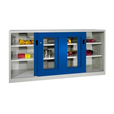Schiebetürenschrank PAVOY mit Sichtfenstern + 4 Fachböden + Trennwand, HxBxT 1.000 x 1.500 x 600 mm