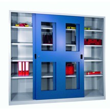 Schiebetürenschrank PAVOY mit Sichtfenstern + 8 Fachböden + Trennwand, HxBxT 1.950 x 1.500 x 400 mm