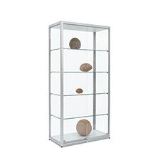Schiebtürenstandvitrine, 4 Glasböden, 2 Spots