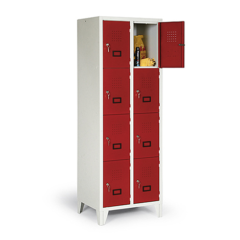 Schließfachschrank, 1800x1200x500, Füße, Abteilbreite 400mm, 3 Reihen, 12 Fächer