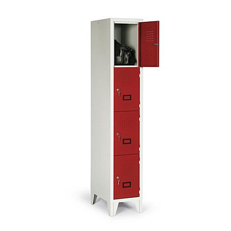 Schließfachschrank, 1800x322x500, Füße, Abteilbreite 300mm, 1 Reihe, 4 Fächer