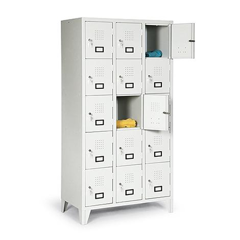 Schließfachschrank, 1800x322x500, Füße, Abteilbreite 300mm, 1 Reihe, 5 Fächer