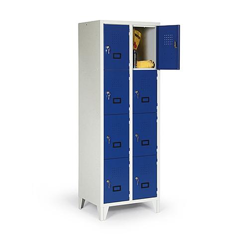 Schließfachschrank, 1800x420x500, Füße, Abteilbreite 400mm, 1 Reihe, 4 Fächer