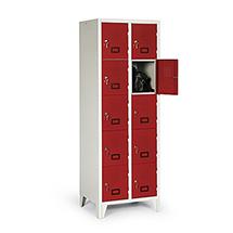 Schließfachschrank, 1800x615x500, Füße, Abteilbreite 300mm, 2 Reihen, 10 Fächer