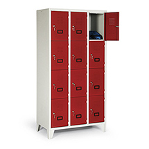 Schließfachschrank, 1800x810x500, Füße, Abteilbreite 400mm, 2 Reihen, 8 Fächer