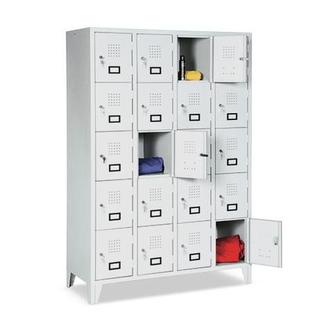 Schließfachschrank, 1800x907x500, Füße, Abteilbreite 300mm, 3 Reihen, 12 Fächer