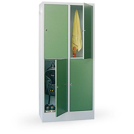 Schließfachschrank, 4 Fächer, 2 Reihen, Abteilbreite 300mm