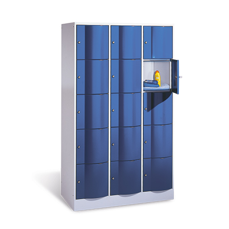Schließfachschrank mit 3 x 5 Fächer, Tiefe 640 mm