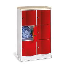 Schließfachschrank mit Abdeckplatte, 2 x 3 Fächer, Tiefe 540 mm