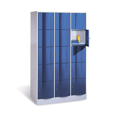 Schließfachschrank mit Abdeckplatte, 3 x 3 Fächer, Tiefe 540 mm
