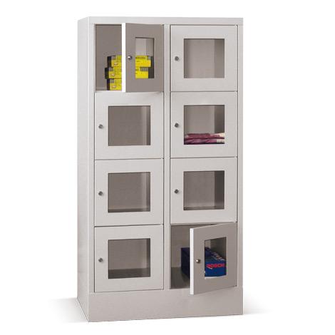 Schließfachschrank mit Sichtfenster PAVOY® mit 2 x 3 Fächern, Breite 630 mm