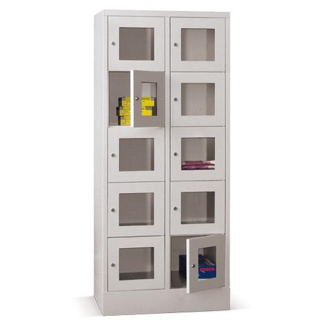 Schließfachschrank mit Sichtfenster PAVOY® mit 2 x 3 Fächern, Breite 830 mm