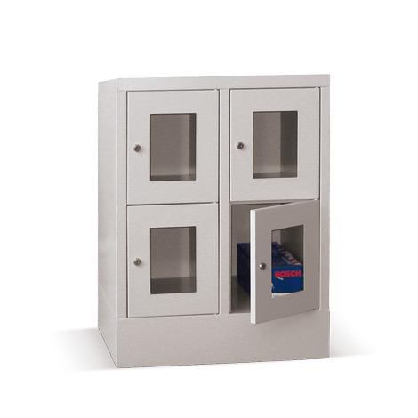 Schließfachschrank mit Sichtfenster PAVOY® mit 2 x 4 Fächern, Breite 830 mm