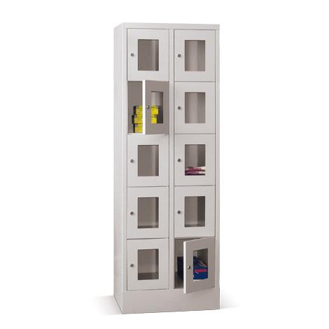 Schließfachschrank mit Sichtfenster PAVOY® mit 2 x 5 Fächern, Breite 630 mm
