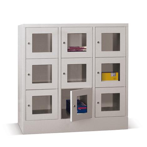 Schließfachschrank mit Sichtfenster PAVOY® mit 3 x 2 Fächern, Breite 1230 mm