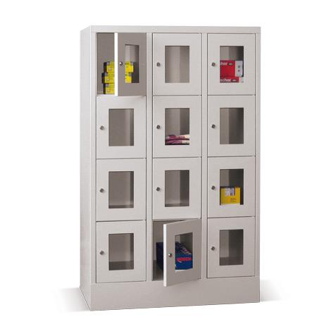 Schließfachschrank mit Sichtfenster PAVOY® mit 3 x 2 Fächern, Breite 930 mm