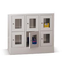 Schließfachschrank mit Sichtfenster PAVOY® mit 3 x 3 Fächern, Breite 1230 mm
