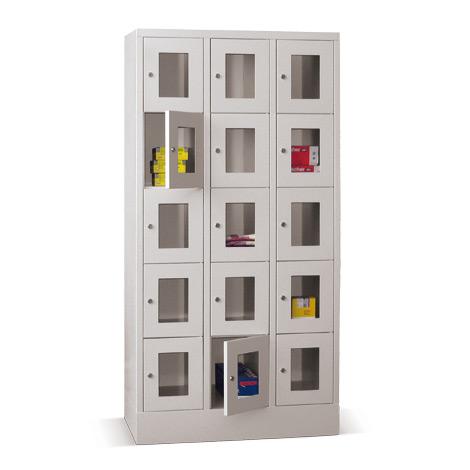 Schließfachschrank mit Sichtfenster PAVOY® mit 3 x 3 Fächern, Breite 930 mm